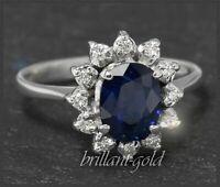 Diamant Brillant & Saphir Damen Cocktail Ring mit 1,85ct, aus 750 Gold, Weißgold