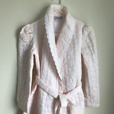 Vintage Say-lu Robe Light Pink Quilted Pattern Lace Trim Small Medium Pockets