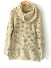 DKNY Tunic Sweater Over-Sized Large Mock Neck Crochet Wool Blend Tan Size L
