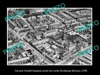 OLD POSTCARD SIZE PHOTO NORWICH NORFOLK ENGLAND AERIAL VIEW OF BREWERY c1950