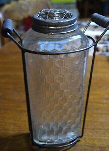 HONEYCOMB GLASS & METAL 2 PIECE FRESH FLOWER HOLDER VASE W/ WOOD HANDLES 8.5 IN