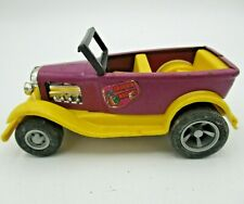 Vintage 1970s Tonka Draggin Wagon! Car - Purple and Yellow - Pressed Steel