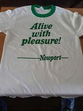 """Newport Cigarettes """"Alive With Pleasure"""" Logo ringer t-shirt Xl Extra Large"""