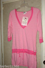 SO NIKKI HOOD TUNIC PINK & WHITE SZ MED NWT ADORABLE ON!! SUPER COMFORTABLE!!