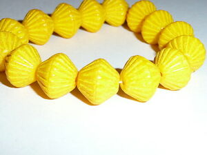 Beautiful Yellow Czech Pressed Glass African style Bicone Beads (15) 11mm x 10mm