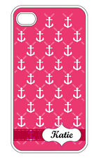 Personalized iPhone 4 4S Custom Monogrammed Faith Anchor Design Hard Case Cover