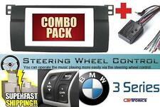 BMW E46 Double Din Car Stereo Radio Dash Kit + Steering Wheel Control Interface
