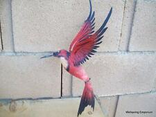 Medium Red Textured Hummingbird Metal Wall Art Birds Garden Art Natural Decor
