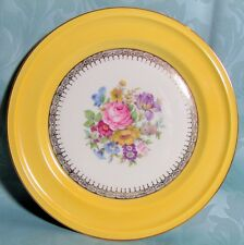 Rosenthal Ivory Germany Plate b Bright Yellow Floral Medallion Gilt Detail 8.75""
