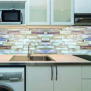 Küchennischen Deko Küchenrückwand Spritzschutz Wandschutz Naturstein grau-braun