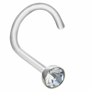 Nasenring Nasenstecker Nasen Piercing  2mm Transparent Kristall Stein