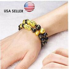 2Pcs Feng Shui Black Obsidian Alloy Bracelet Pi Xiu Attract Wealth&Lucky Jewelry