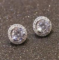 Lot Women's Crystal Zircon Inlaid Ear Stud Earrings Ear Stud S925 Silver Jewelry