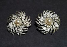 Sarah Coventry Silver Tone Swirl & Faux Pearl Clip Earrings