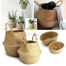 New ListingFoldable Seagrass Basket Rattan Wicker Handle Plant Pot Laundry Storage Holder