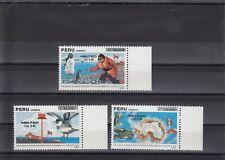 TIMBRE STAMP 3 PEROU Y&T#950-52 BALEINE PINGOUIN OISEAU NEUF**/MNH-MINT 1991~B84