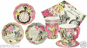 Truly Alice In Wonderland Party Mad Hatters Plates Cups napkins Kits 12 24 36 48