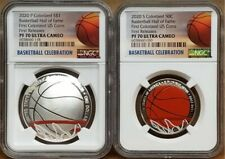 2020-P & S Basketball Hof Colorized Proof 2 Coin Set, Ngc Pf70 Uc, First Release
