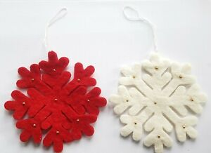 Arctic Felt Wool Snowflake Christmas tree home festive decorations 13cm x 13cm