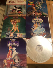 CLASSIC WALT DISNEY LASER DISCS LOT OF 6, BAMBI, TOY STORE, CINDERELLA, MICKEY