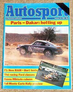 Autosport 19/1/84* 1983 FORMULA FORD REVIEW - RAM F1 FEATURE - PARIS DAKAR RALLY
