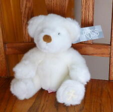 """RUSS """"Gifts of Faith"""" White Plush 7"""" BELIEVE BEAR Embroidered Cross; Tags intact"""