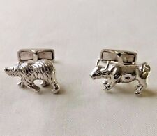 STERLING SILVER BULL & BEAR CUFF LINKS BY RAVI RATAN