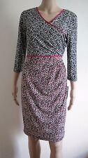 Misses Size 12P London Times Petites Black, White, and Pink Print Dress