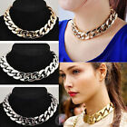 Fashion Womens Shiny Link 14K Gold Plated Metal Choker Necklace Chunky Bib Chain