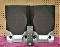 **TWO Philips Magnavox FB320LS PM Speakers with remote for Bookshelf system**