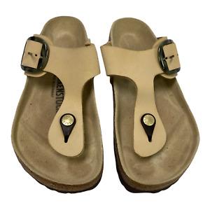 Birkenstock Womens Gizeh Leather Thong Sandals Beige Buckle Slip Ons 6.5 EUR 37