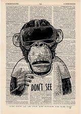 Ne pas voir Singe Dictionnaire Art Set Animaux Vêtements Imprimer anthropomorphe