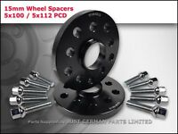 ALLOY WHEEL SPACERS 5X100 5X112 57.1 15MM + EXTENDED BOLTS VW AUDI SEAT SKODA