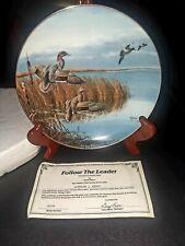 "Danbury Artist David Maass Plate ""Follow The Leader"" Ducks Taking Flight 1988"