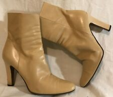 Michel Perry Beige Ankle Leather Lovely Boots Size 38.5 (194vv)