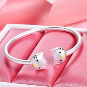 Women Stainless Steel Silver SP Hello Kitty Cat Open End Cuff Bangle Bracelet