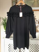 Ted Baker Andaa Ruffle Bishop Sleeve Dress RRP £159 Size 3 UK 12 Navy