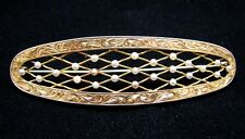14KT & SEED PEARL LATTICE WORK ENGRAVED BROOCH c.1870 !LARGE!