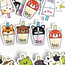 36 Bubble Tea Animals - Kawaii Stickers Journal, Diary Stickers, Scrapbooking