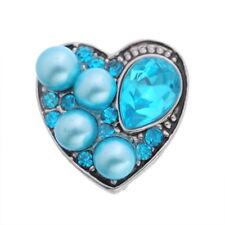 Heart-shaped blue jewelry rhinestone blue metal button