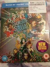 SUICIDE SQUAD Steelbook BLURAY 3D+2D UK HMV EDITION BRAND NEW! Rare oop