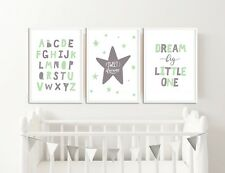 Grey and Mint Nursery Prints / Baby Room Decor, Pictures for Childrens Bedroom