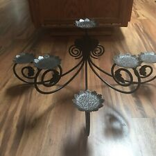 METAL SCROLL 6 LEAF VIKING LARGE CANDELABRA EUC DARK BROWN Beautiful.