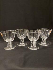 Vintage Steuben Crystal Air Twist Stem Cocktail Glasses Threaded Set 4