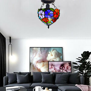 """Tiffany Graceful Attractive Style Ceiling Lamp 10"""" Handcrafted Art Stained Glass"""