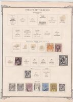 straits settlements mounted mint used stamps on old album page ref r9043