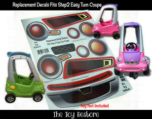 The Toy Restore Replacement Decals Stickers fits Step2 Easy Turn Coupe Car Red