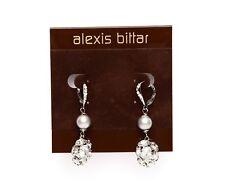 Alexis Bitter Silver Crystal Pearl Womens Lever Back Drop Earrings 0134