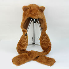 Fox Animal 3 In 1 Function Faux Fur Hood Hoodie Plush Warm Hat Scarf Great Gift