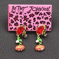 Betsey Johnson Women's Enamel Crystal Rhinestone Flower Earbob Dangle Earrings